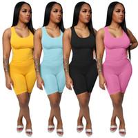Kadınlar 3324 düz 2 adet setleri tişört şort kıyafetler yaz gündelik giyim kırpma üst eşofman pollover tok renk kolsuz Capris S-2XL