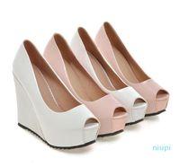 Горячий стиль -Новый белый клин пятки невесты свадебные туфли синий пальца ноги щели высокой пятки платформы BRIDESMAID обувь 2 цвета размер 34 до 39