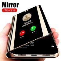Étui à rabat de miroir intelligent pour Samsung Galaxy S21 Ultra S21 S20 S10 S9 Plus A50 A51 A70 A71 A20 A30 A30 Étui à flip pour Galaxy Note20ULTRA
