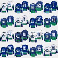 Benutzerdefinierte 2020 Vancouver Canucks 40 Elias Pettersson Daniel Sedin Brock Boeser Markstrom Virtanen Horvat Roussel Hockey Jersey Männer Frauen Jugend