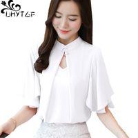 Camisas de las blusas de las mujeres Uhytgf Shirt Women 2021 Chifón coreano Manga de murciélago Blusa de verano Mujer Roja Blanco Otra elegante Womenswear Poder Plus