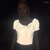 Reflective Tshirts Slash Neck Cute Grey Bright IN Dark Tees Short Sleeved Women Summer INS Hot 3M