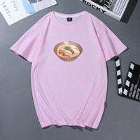 Женщины тенниска печати Японского Harajuku Повседневных Смешные футболки Summer Casual Ramen Лапша Graphic Tee Shirt Дама Top хлопчатобумажного