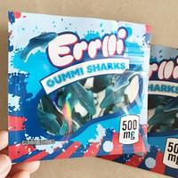 Yeni Sıcak 500 mg Errlli Gummi Köpekbalıkları Yenilebilir Ambalaj Koku Geçirmez Çanta Warheads Skittles Boş Infsed Mylar Çanta Kılıfı Paketi DHL