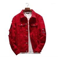 Printemps Automne 4XL Lapel Neck Taille Plus Manteaux courts Couple High Street Fashion Outerwears Mens Red trou Demin Vestes hommes