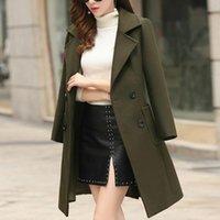 Зимние шерстяных пальто Женщины Тонких женщин пальто Femme Grande Taille отворот Кнопка Длинного Trench куртка женская GH4