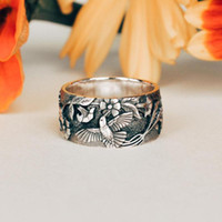 Fashion Jewelry 925 Sterling Silver Chrysanthemum Bird Rings...