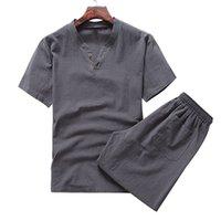 Hommes d'été Coton Lin Oversize Deux pièces Ens couleur solide T-shirt décontracté et Shorts Set Vintage Slim Homme Vêtements