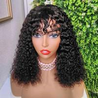 Kıvırcık 4by4 kapatma Peruk Kısa Peruk bakire İnsan Saç İçin Siyah Kadın% 130% 150% 180 yoğunluk Remy preplucked bebek saç ışığı ağartılmış knot