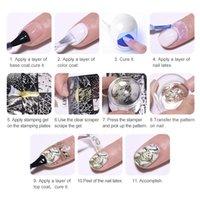 Eco-friendlyNICOLE Nail DIARY de Stamping Gel Polish Noir Blanc Argent Glitter UV Soak Off Gel Nail Art DIY plaque de tampon Vernis à ongles