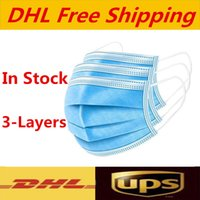 UPS DHL free shipping Disposable Face Masks Thick 3- Layer Ma...