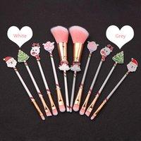 5Pcs Christmas Makeup Brushes Set Kit Beautiful Professional Make Up Brush Tools With Drawstring Santa Claus Print Bag Xmas Gift DBC VT1218