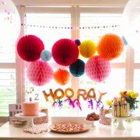 """14"""" 35см оберточной бумаги Honeycomb Бал Baby Shower день рождения Свадьба Рождественский праздник украшения Rpund бумажный фонарь Lampion"""