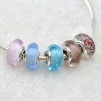 100% 925 Sterling Silver Pandora Bracciali Murano Charm Bead 925 Silver Flower perle di vetro Diy inverno natale Fine Jewelry Fare
