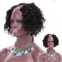 insan saçı bob peruk u kısmı kısa kesilmiş kıvırcık bob siyah kadınlar için peruk upart Brezilyalı bakire remy saç perukları