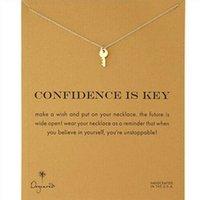 Avec carte! Couleur d'argent et d'or Collier doré mignon avec clé (confidence est la clé) Key Pendentif Colliers Collier Inspirational Collier