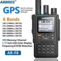 Walkie Talkie Abbree AR-F8 GPS 6 عصابات العرض المزدوج الاستعداد 999CH متعدد الوظائف Vox DTMF SOS LCD Color Ham Radio