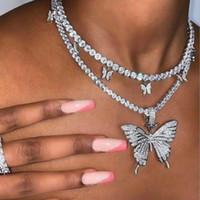 Estração Big Butterfly Pingente Colar Hip Hop Gelado Cadeia de Rhinestone para Mulheres Bling Tênis Corrente de Cristal Animal Gargantilha Jóias