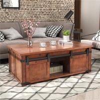 Soggiorno classico Tavolo da giardino Mobili da giardino U_Style Tavolino con ripiano e armadi di stoccaggio, porte scorrevoli WF191334Aad