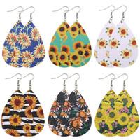 Sunflower Printed Ohrring für Frauen PU-Leder-Ohrring böhmischer baumeln Ohrringe Wassertropfen Leichte Ohrringe Schmuck Weihnachtsgeschenk