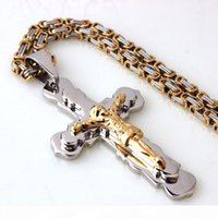 Men Chain Christian Jewelry Gift Vintage Cross Crucifix Jesus Piece Pendant Necklace Silver Gold Color Stainless Steel Byzantine