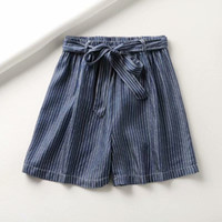 Nuova estate della banda pantaloni diritti elastico in vita Jeans Shorts Loose Women Casual Cotton Tencel Softener Belt Denim
