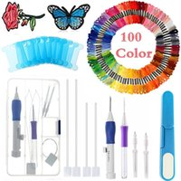 Nähen Vorstellungen Werkzeuge Zauberstickereien Stift Punch Nadeln, Stickereisteat Set Handwerkzeug einschließlich Threads für DIY Strick Patchwork