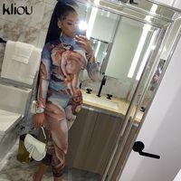 Kliou 2020 mulheres outono padrão prin gola manga longa macacões moda elástico macacão treino sportywear X0924 roupa casual