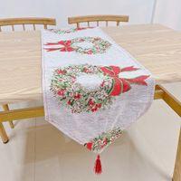 عيد الميلاد عداء الجدول القماش العلم سانتا كلوز للولائم الديكور المنزلي مطرز عيد الميلاد عيد الميلاد الجدول غطاء الكرتون حصيرة تغطية FFA4335