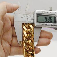 Pesada enorme enorme 16 / 20mm Tono de oro amarillo Cuba Cuba Cubierta de enlace Collar de acero inoxidable / pulsera Biker Mens Regalo 7-40 pulgadas Tamaño personalizado