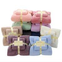 2pcs / комплект 35x75cm + 70x140cm Coral Fleece Soft Face полотенце Главная Ежедневно Водопоглощение Полотенце Мульти сгущает полотенце Домашний текстиль HA1138