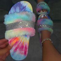 المرأة فروي النعال المرأة الفراء الشرائح أحذية نسائية بريق بلينغ شقة أنثى لون قوس قزح بالجملة قطرة الشحن 2020