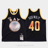 E-40 x Golden StateSavaşçılarErkekler Hasta Vidalı # 40 Sınırlı Sürüm Basketbol Forması