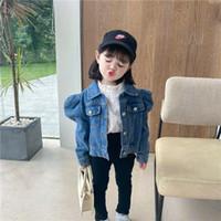 Moda Yeni Çocuklar Puf Kol Kovboy Dış Giyim Çocuk Tek Göğüslü Kısa Denim Ceket Kızlar Casual Denim Tops A4103