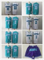 "Erkek ""Charlotte"" Hornets ""33 Alonzo Yas 2 Larry Johnson 1 Muggsy Bogues 30 Dell Curry Basketbol Şort Basketbol Forması"