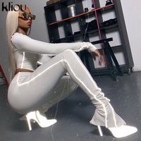 Kliou Yansıtıcı Çizgili Patchwork Spor Eşofman Kadınlar 2 Adet Set Casual Kıyafet Uzun Kollu Fermuar Crop Top + Pantolon Suit T200825