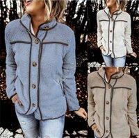 Женщины Шерпа флис пальто куртки Pannlled Кнопка заплатки куртки Стенд Воротник пальто теплая зима толстовки INS ветровка Верхняя одежда D82602