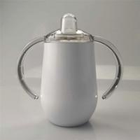 Garrafa 10 onças sublimação Sippy Cup água com aço inoxidável Leakproof Tampas Tumbler parede dupla vácuo bebê Garrafa BPA livre com bico do peito A02