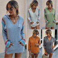 2020 femmes stretch en vrac Pull à capuche en maille longues Pulls Pull rayé couleur Sweats à capuche avec poche oversize Outwear Tops Fashion LY817