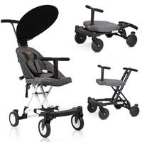 Portátil cochecito de bebé plegable ligero carrito de bebé Cuatro ruedas del cochecito de niños Walker coches Cochecito de niño aprender a caminar absorbedor