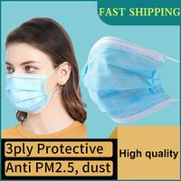 В наличии DHL Бесплатная доставка! Одноразовая маска 100 шт 3ply маски для лица Анти- пыли защитный фильтр с ушной, Одноразовая маска для лица