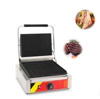 ساندويتش بانيني الكهربائية صانع آلة العرض الرقمية الخبز المحمصة الشواية التجاري بانيني آلة شواء