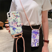 Fashion Design Crossbody Electroplating Fiori della cassa del telefono di iPhone 11 Pro XS Max XR SE 2020 7 8 Plus con cordino laccio