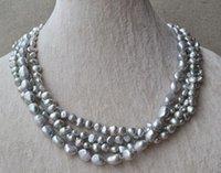 100% Natural Pearl Gioielli, Grigio reale d'acqua dolce collana di perle, 18inches 4rows 6-10mm regalo delle donne di nozze festa di compleanno