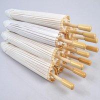 50pcs / lot Nouveau blanc couleur à long manche papier de mariage en plein air Parasols Artisanat chinois parapluies Diamètre 23,6 pouces