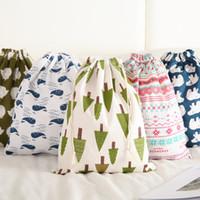 Мода хлопок Drawstring хозяйственная сумка Eco многоразовые складывая Бакалея ткань нижнего белья сумка Travel Главная сумка для хранения