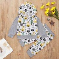Baby-Mädchen 0-2T Baumwoll Fox Baum Druckhülse lang mit Kapuze Top-Sweatshirt + Hosen 2pcs Outfits Kinder Kleidung Set