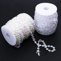 Décoration de fête 99 pieds / 30m² Clear Guirlande Diamond Strand suspendu cristal acrylique perle rideaux rideaux d'arbre de mariage de mariage décor