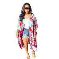 Cardigan couleur naturelle manteaux pour dames Vêtements pour femmes Cap Designer Tie Dye Motif Cape moitié Casual