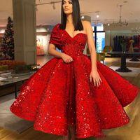 Rote Schulter Pailletten Ballkleider geraffte Tee Länge Abendkleider Reißverschluss Back Cocktail Formale Partei Kleid Günstige Vestidos
